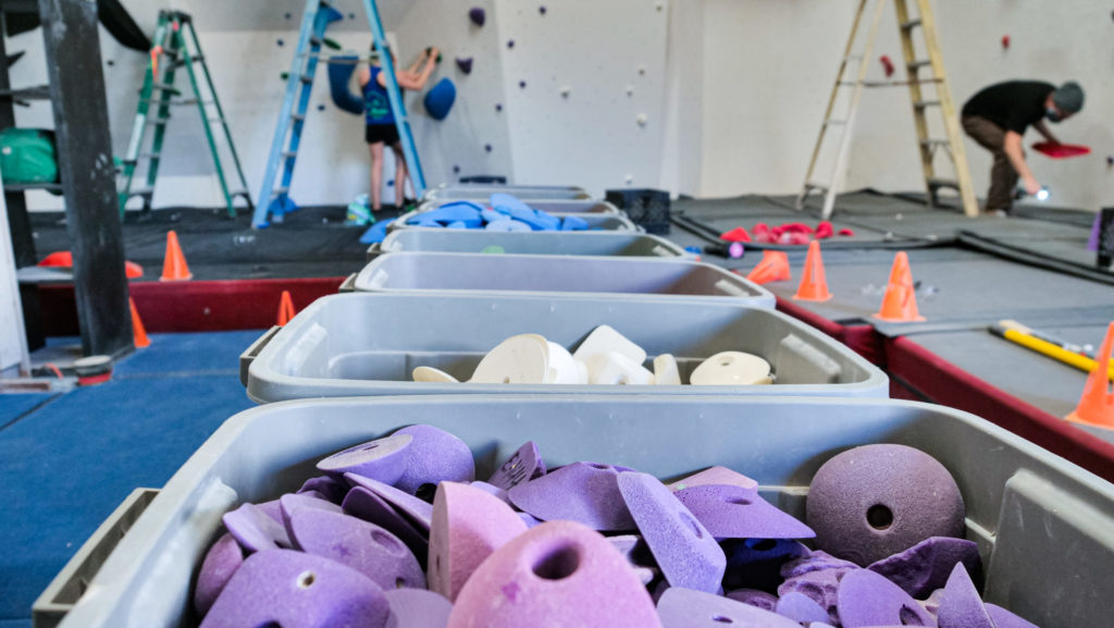 fresh rock climbing holds for a gym reset